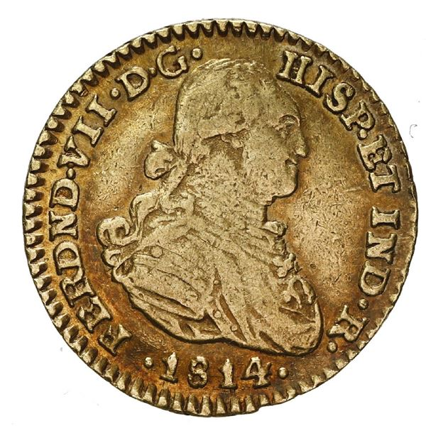 Bogota, Colombia, gold bust 1 escudo, Ferdinand VII (bust of Charles IV), 1814 JF.