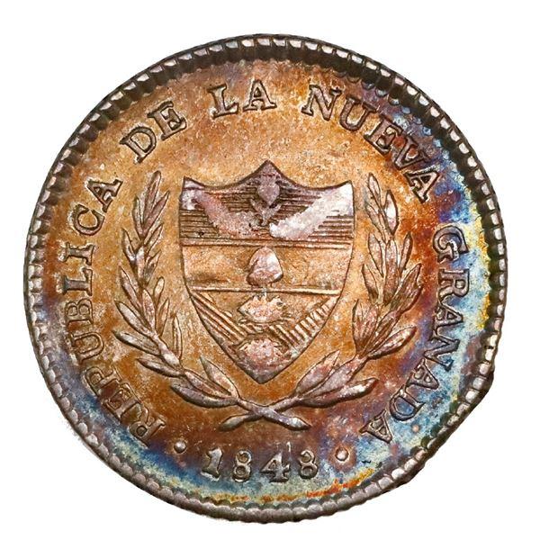 Bogota, Colombia, 2 reales, 1848, NGC AU 55.