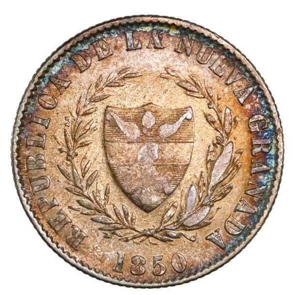 Bogota, Colombia, 2 reales, 1850, NGC AU 53.