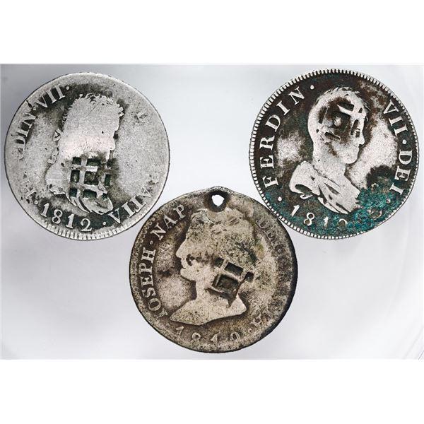 Lot of three Cuba (Trinidad / Santiago / Principe), 2 reales, star-in-lattice countermarks (1841) on