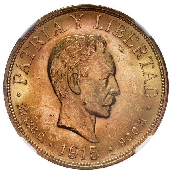 Cuba (struck at the Philadelphia mint), gold 20 pesos, 1915, Jose Marti, NGC MS 61.
