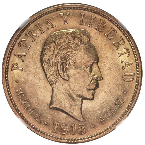 Cuba (struck at the Philadelphia mint), gold 10 pesos, 1915, Jose Marti, NGC AU 58.