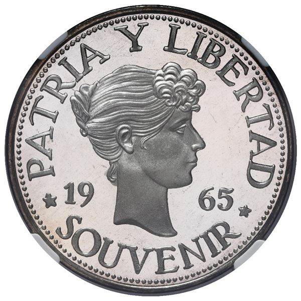 """Cuba, proof """"souvenir"""" peso (""""Bay of Pigs"""" exile issue), 1965, lettered edge, NGC PF 67 Ultra Cameo."""