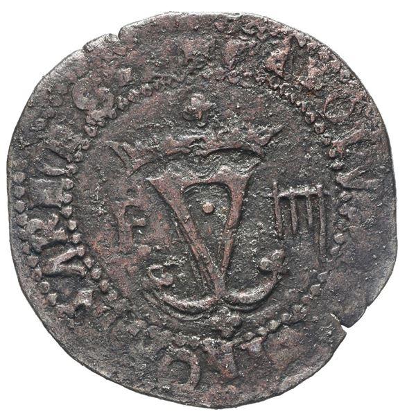 Santo Domingo, Dominican Republic, copper 4 maravedis, Charles-Joanna, assayer F to left, denominati