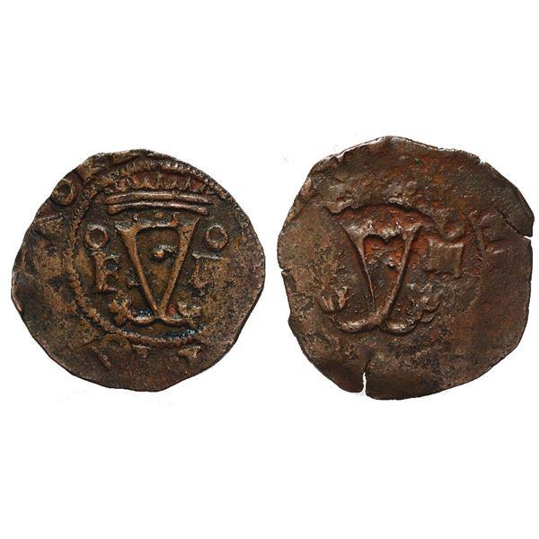 Lot of two Santo Domingo, Dominican Republic, copper 4 maravedis, Charles-Joanna, assayer oF to left