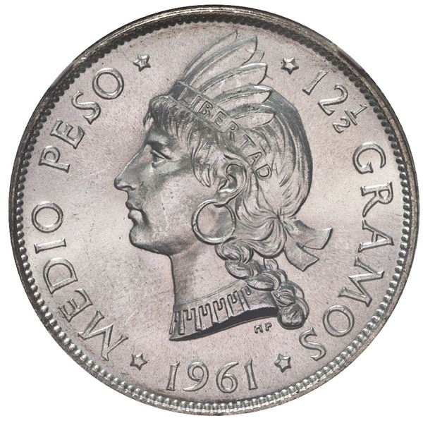 Dominican Republic, 1/2 peso, 1961, NGC MS 66, ex-Rudman.
