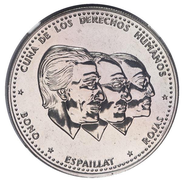 """Dominican Republic, copper-nickel piefort 50 centavos, 1986, NGC MS 67 (""""top pop""""), ex-Rudman."""