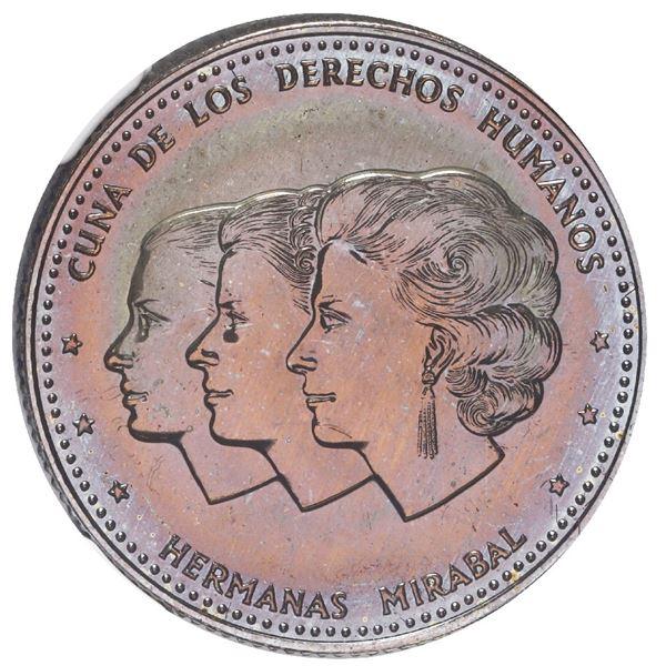 Dominican Republic, copper-nickel piefort 25 centavos, 1986, NGC MS 66, ex-Rudman.