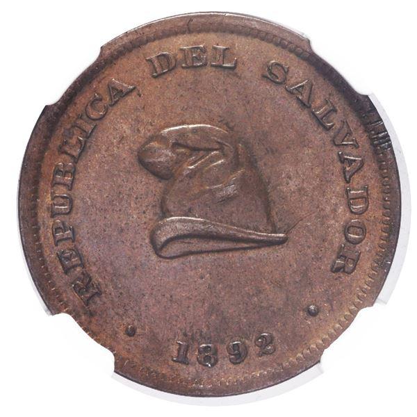 El Salvador, copper 1 centavo, 1892, NGC AU 58 BN.