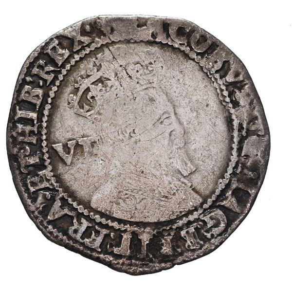 England (London mint), sixpence, James I (fourth bust), 1605, mintmark trefoil.