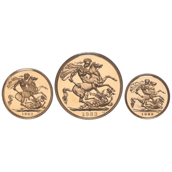 Great Britain, proof gold 3-coin set dated 1983 in original Royal Mint box: 2 pounds, sovereign, and
