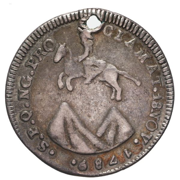 Guatemala, 1 real proclamation medal, Charles IV, 1789.