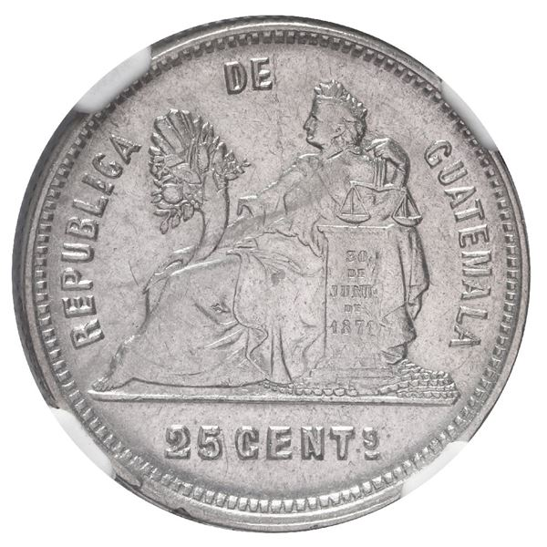 Guatemala, 25 centavos, 1892, small letters, NGC AU 55, finest and only known example in NGC census.