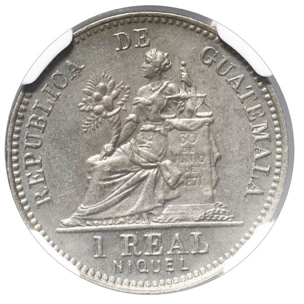 """Guatemala (struck at the Heaton Mint, England), copper-nickel 1 real, 1910, NGC MS 65 (""""top pop"""")."""