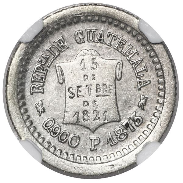 Guatemala, 1/2 real, 1873 P, NGC AU 50, KM Plate (stated on label), finest and only known example in