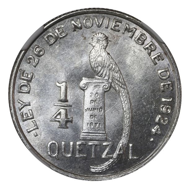 "Guatemala, 1/4 quetzal, 1949/8, NGC MS 64 (""top pop"")."