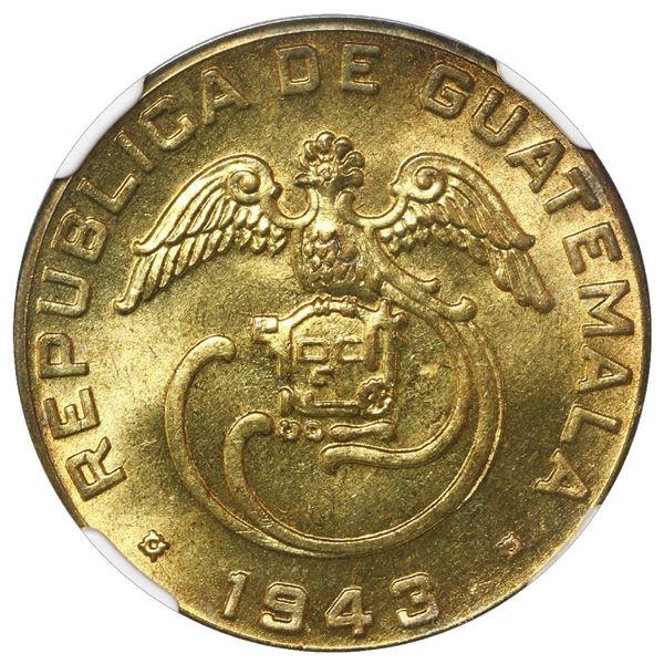 Guatemala (struck at the Philadelphia Mint), brass 2 centavos de quetzal, 1943, NGC MS 65+, finest k