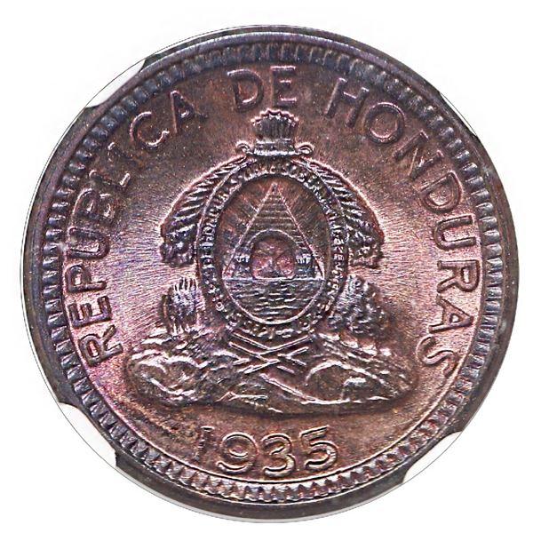"Honduras (struck at the Philadelphia Mint), copper 1 centavo de lempira, 1935, NGC MS 66 RB (""top po"