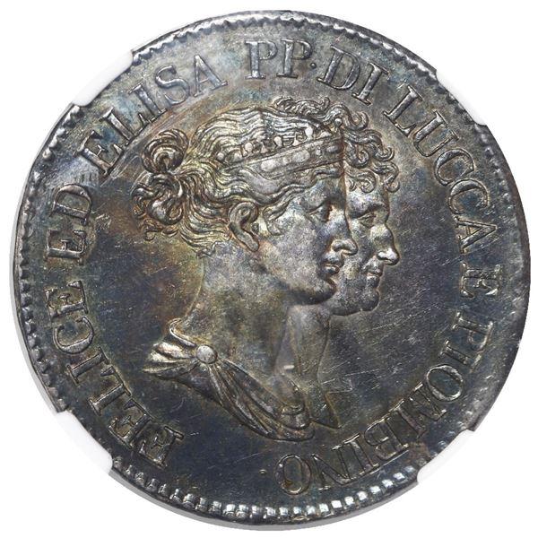 Lucca and Piombino (Italian States), Florence mint, 5 franchi, Elisa Bonaparte and Felice Baciocchi,