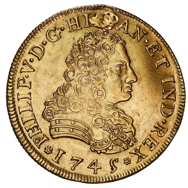 Mexico City, Mexico, gold bust 8 escudos, Philip V, 1745/4 MF.