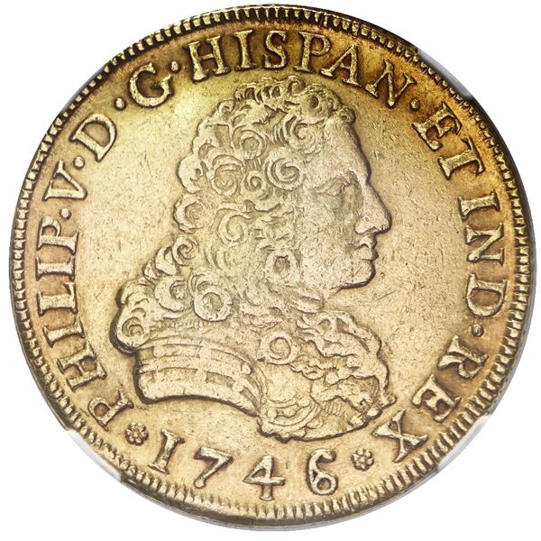 Mexico City, Mexico, gold bust 8 escudos, Philip V, 1746/5 MF, NGC XF details / cleaned.
