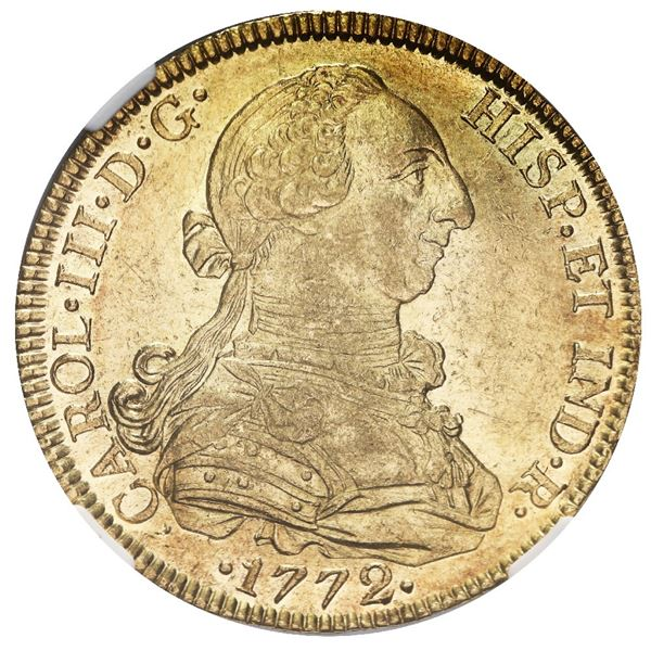 Mexico City, Mexico, gold bust 8 escudos, Charles III, 1772 FM, NGC AU details / reverse cleaned.