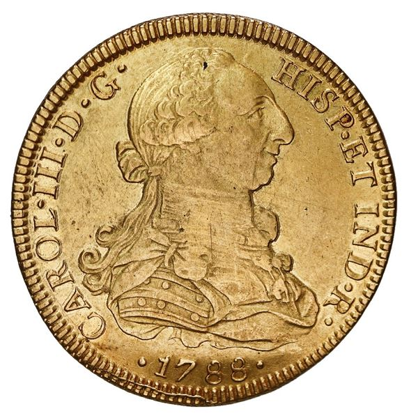 Mexico City, Mexico, gold bust 8 escudos, Charles III, 1788 FM, mintmark and assayer facing rim.