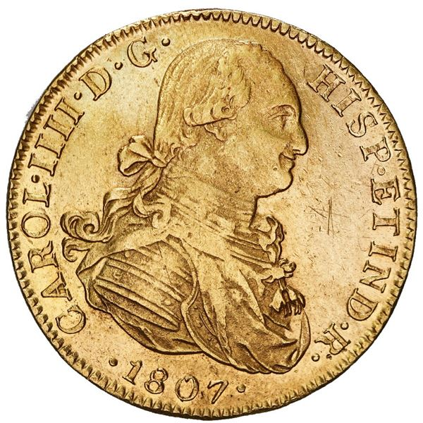 Mexico City, Mexico, gold bust 8 escudos, Charles IV, 1807 TH, mintmark oM over inverted mintmark.