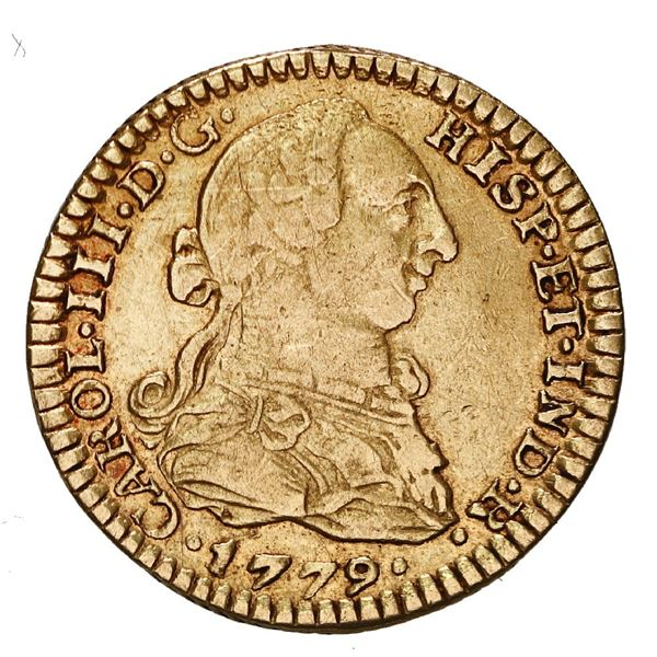 Mexico City, Mexico, gold bust 1 escudo, Charles III, 1779 FF.