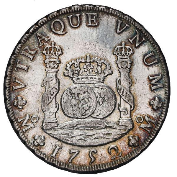 Mexico City, Mexico, pillar 8 reales, Ferdinand VI, 1752 MF.