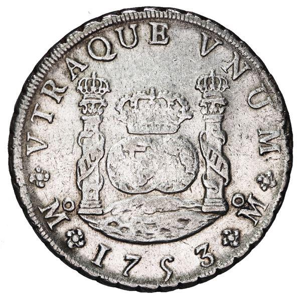 Mexico City, Mexico, pillar 8 reales, Ferdinand VI, 1753 MF.