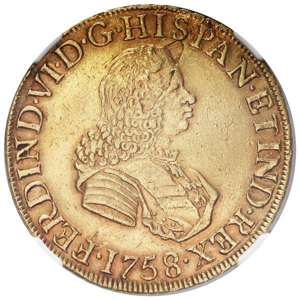 Lima, Peru, gold bust 8 escudos, Ferdinand VI, 1758/7 JM, NGC AU details / mount removed.