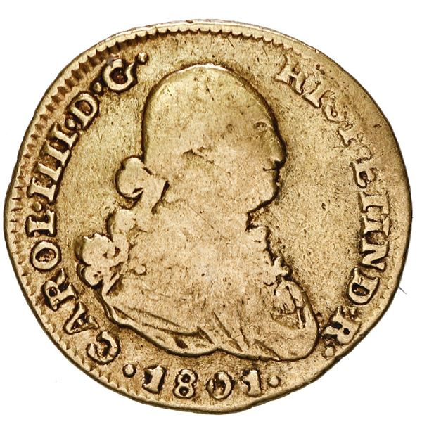 Lima, Peru, gold bust 1 escudo, Charles IV, 1801 IJ.