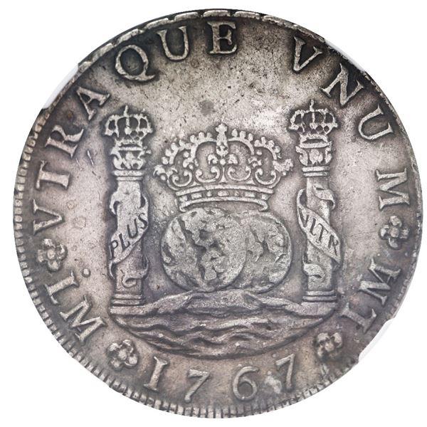 Lima, Peru, pillar 8 reales, Charles III, 1767 JM, dot over left mintmark only, NGC XF 40.