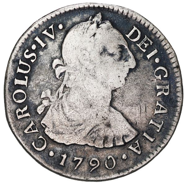 """Lima, Peru, bust 2 reales, Charles IV transitional (bust of Charles III, ordinal IV), 1790 IJ, """"R2"""""""