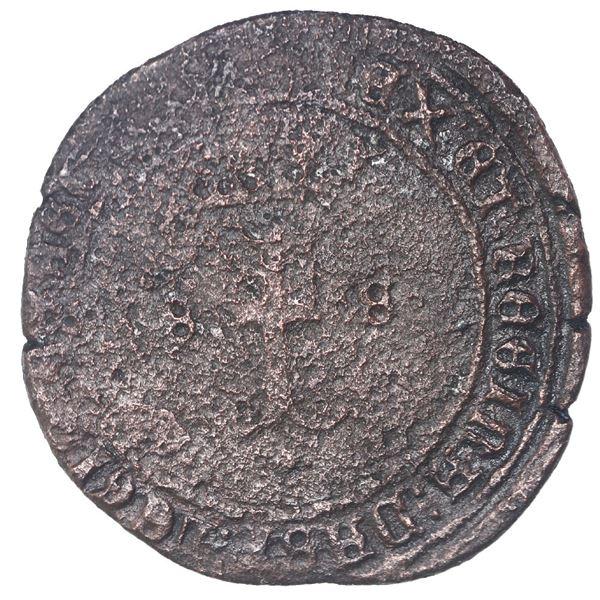 Seville, Spain (special issue struck for the New World), copper 4 maravedis, Ferdinand-Isabel, rare.