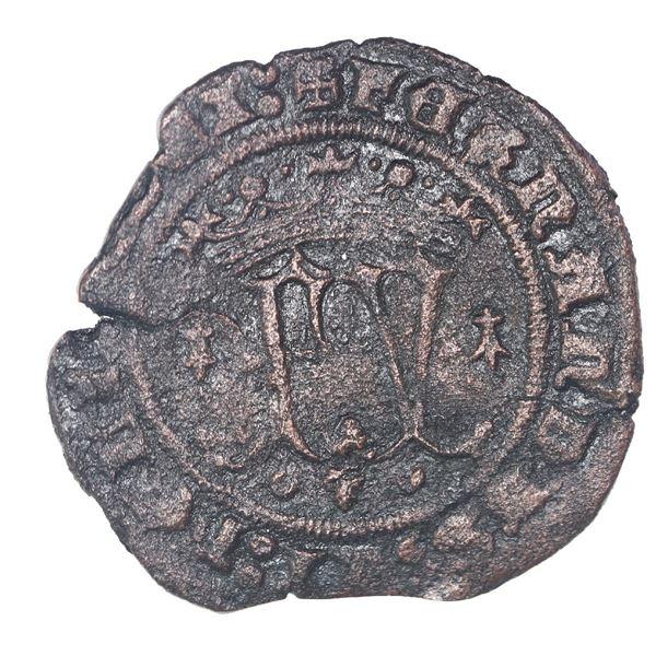 Burgos, Spain (special issue struck for the New World), copper 2 maravedis, Ferdinand-Isabel, ermine