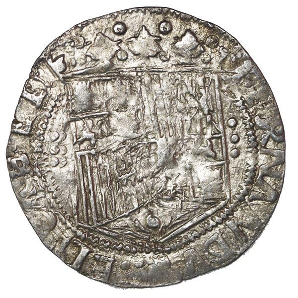 Seville, Spain, 1 real, Ferdinand-Isabel, three-dot columns flanking shield, mintmark S on reverse.