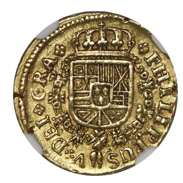 Madrid, Spain, gold milled 1 escudo, Philip V, 1723 A, NGC UNC details / scratched.