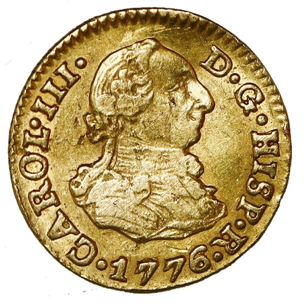 Seville, Spain, gold bust 1/2 escudo, Charles III, 1776/5 CF.