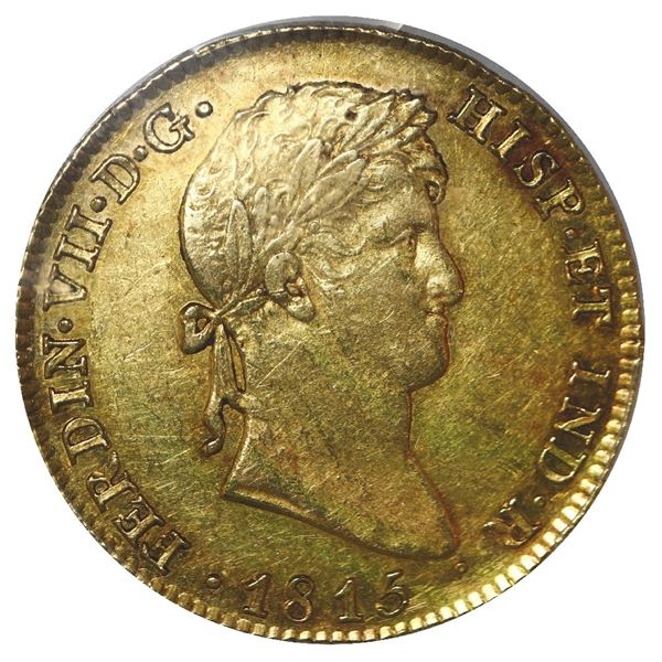 Madrid, Spain, gold bust 4 escudos, 1815 GJ, PCGS AU55, finest known in the PCGS census.