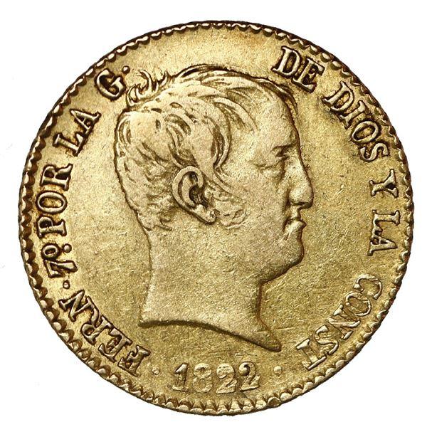 Madrid, Spain, gold bust 80 reales de vellon, Ferdinand VII, 1822 SR