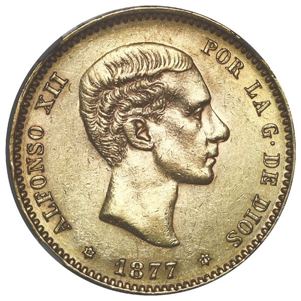 Madrid, Spain, gold 25 pesetas, Alfonso XII, 1877 DE-M, with 18-77 inside six-point stars, NGC AU 53