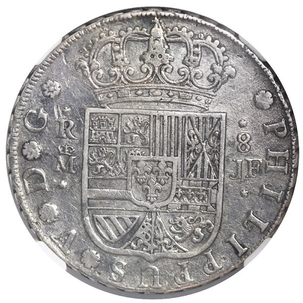 Madrid, Spain, milled 8 reales, Philip V, 1730 JF, NGC XF details / cleaned.