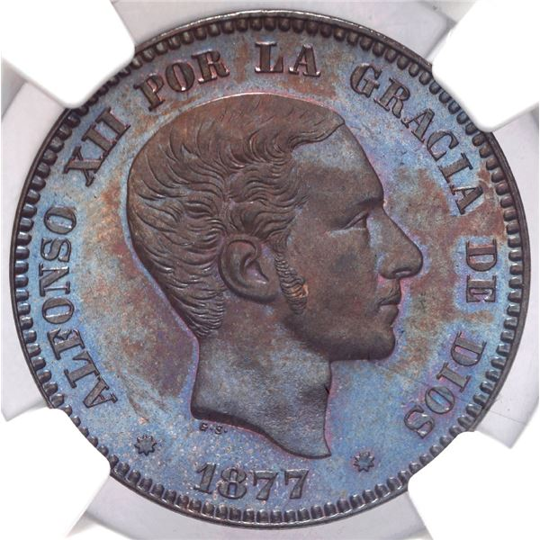 Barcelona, Spain, copper 10 centimos, Alfonso XII, 1877 OM, NGC MS 64 BN.