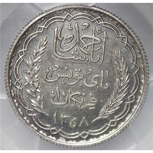 Tunisia (French Protectorate), specimen essai 10 francs, Ahmad Pasha Bey, AH1358 // 1939, Paris Mint