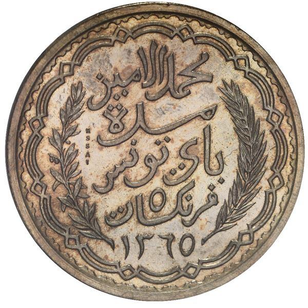 Tunisia (French Protectorate), aluminum-bronze piefort 5 francs essai, Muhammad al-Amin Bey, AH1365