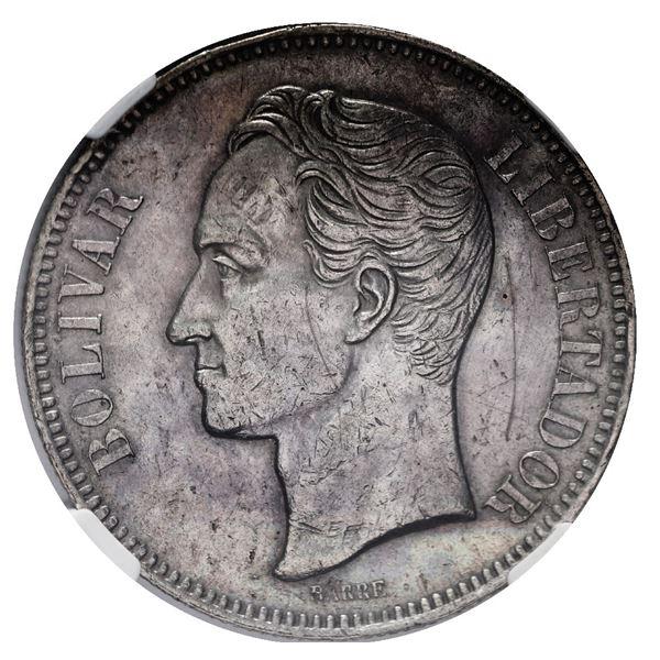 Venezuela (struck at the Brussels mint), 5 bolivares, 1879, NGC AU details / obverse scratched.
