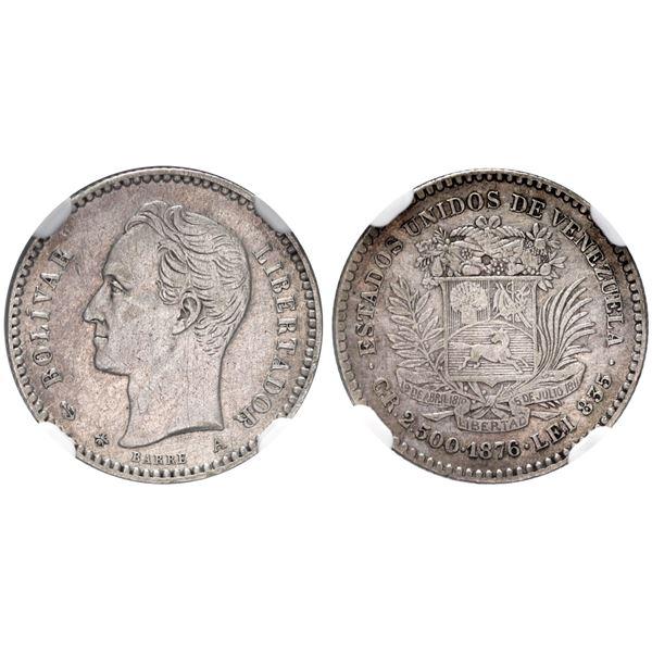 Venezuela (struck at the Paris mint), 10 centavos, 1876-A, serifed A, NGC AU details / cleaned.