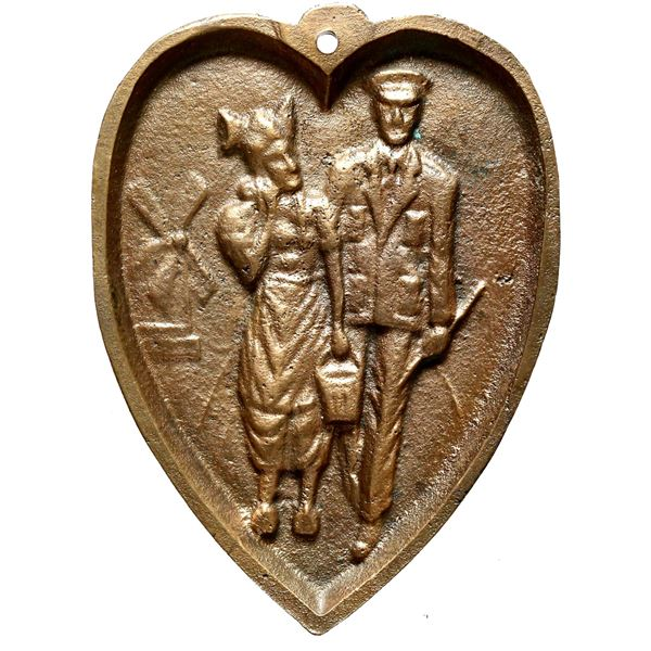 Netherlands, large cast bronze heart-shaped medal, ca. early 1900s, serviceman and lady.